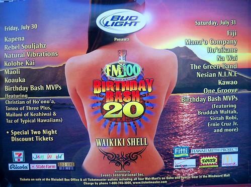 Birthday Bash 20 (by FM 100) concert poster - Waikiki Shell on July 30-31, 2010