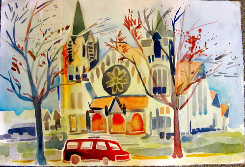 sacred heart catholic church columbia missouri  (watercolor full sheet 20 x30  arches c/p paper)