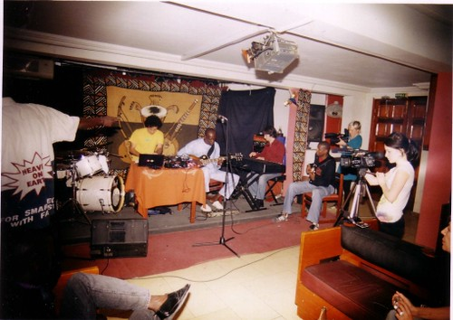 Steve Reid Ensemble, Live in Dakar, with the Seabuzzard filming crew from London on the right.