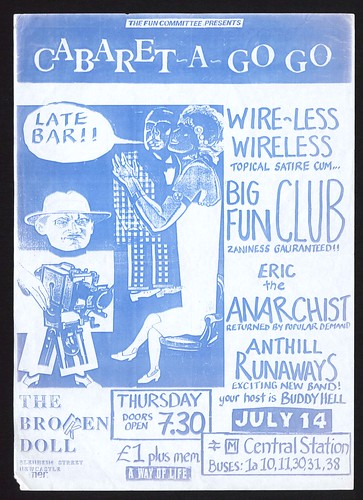 Cabaret-A-Go-Go poster for Thursday 14th July 1988 at the Broken Doll, presented by the Fun Committee.