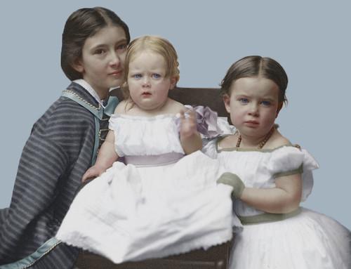 Gertrude Mercer Hubbard Grossman, Roberta Wolcott Hubbard Bell, and Mabel Hubbard Bell as girls, circa 1860. (Colorized)
