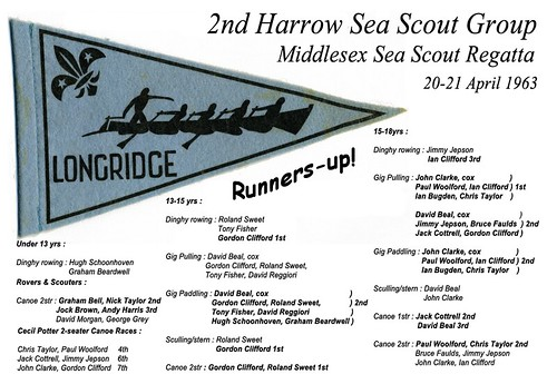 2nd Harrow Sea Scout Group 1963 Middlesex Sea Scout Regatta