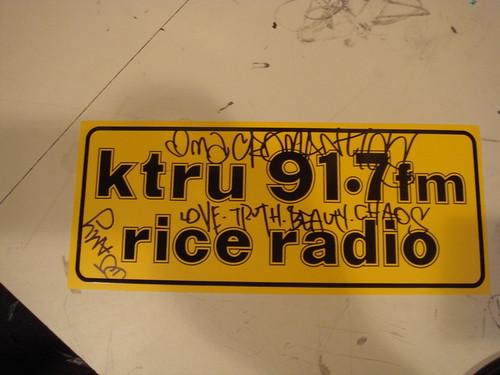 KTRU bumper sticker, signed by Macromantics and DJ Amy