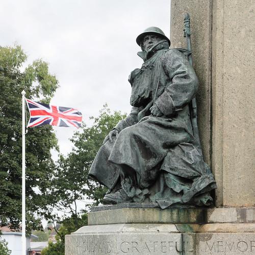Soldier on the Exeter War Memorial, Northernhay Gardens, Exeter, Devon, UK