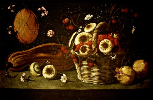 Still Life with sweets, flowers, cheeses and broad beans in a basket (1878) - Josefa de Óbidos (1630 - 1684)