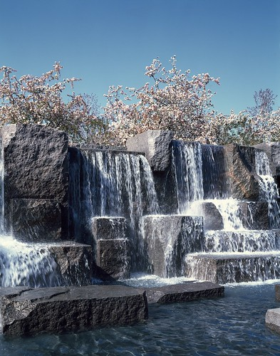 Waterfall and cherry trees at the Franklin Delano Roosevelt Memorial, Washington, D.C.  (LOC)