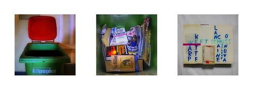 Waste Paper, Books found in the trash bin Aus dem Altpapier Schnitzler Schratt Tapestry Diary: Which audio tape I will use as Warp?