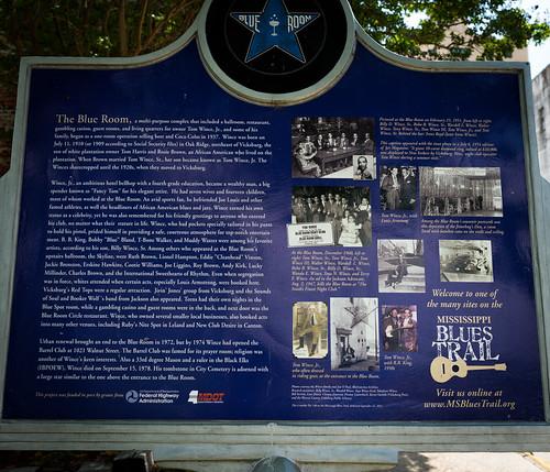 The Blue Room marker, 602 Clay St, v2, Vicksburg, MS, USA