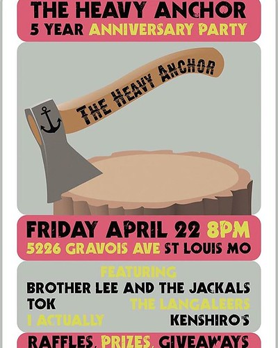 5 Year Anniversary Show, Part 1. Tonight at 9pm: Brother Lee & the Leather Jackals (STL Rock/Roll), Tok (STL Rock/Roll), The Langaleers (STL Rock), I Actually (STL Rock), Kenshiro's (STL Punk). Free to attend.