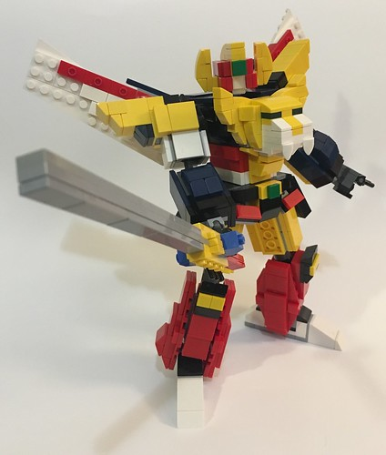 Lego Ganbaruger mech/transformer (from the Japanese series called Genki bakuhatsu) (about 3 boys who discovered 3 mech that can combine as one to become Ganbaruger and became hero's who defeated a bad guy) (sry for the bad description) XD
