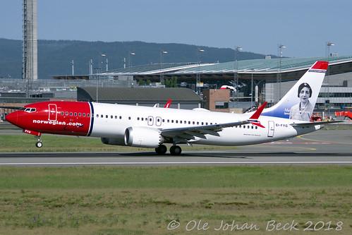 Norwegian B737-8 MAX EI-FYG at ENGM/OSL 01-06-2018