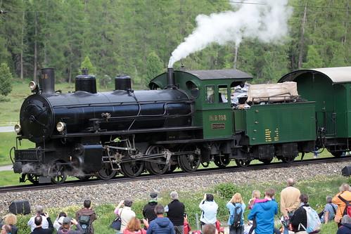 Rhätische Bahn RhB Dampflokomotive G 4/5 Nr. 108 mit Taufname Engiadina ( Hersteller SLM Nr. 1710 - Baujahr 1906 - Dampflok Lokomotive Triebfahrzeug ) unterwegs bei Pontresina im Engadin im Kanton Graubünden - Grischun der Schweiz