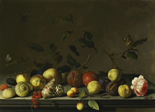 Balthasar van der Ast - A still life of fruit and shells with a rose and various insects upon a stone ledge