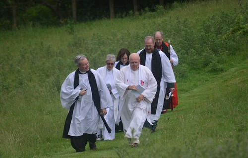 Clergy make their way to the old abbey site at Gartan for the annual Service of Thanksgiving for Saint Columba.