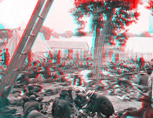 Anaglyph 3d Image - Savage Station, Va. Union field hospital after the battle of June 27, during the Civil War - 1862-06