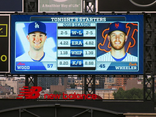 Citi Field, 06/22/18 (NYM v LAD): tonight's starting pitchers and their statistics, as shown on the right field scoreboard - Alex Wood for Los Angeles and Zack Wheeler for New York (IMG_0097a)