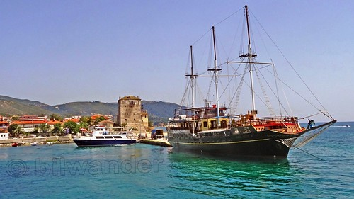 Greece, Macedonia, Aegean Sea, Chalkidiki, Ouranoupolis harbor,   small ferry & vintage like  schooner for short cruises around Mount Athos peninsula