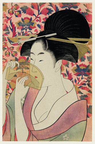 Kushi by Utamaro Kitagawa (1753-1806), meaning Comb, the traditional Japanese Ukyio-e style illustration depicts a Japanese woman portrait holding a comb. Digitally enhanced from our own original edition.