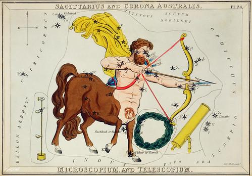 Sidney Hall's (?-1831) astronomical chart illustration of Sagittarius and Corona Australis, Microscopium and Telescopium. The centaur Sagittarius with bow and arrow, telescope and microscope forming the constellation. Original from Library of Congre
