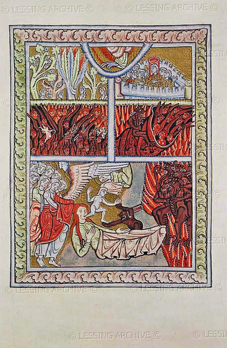Scivias Rupertsberg Plate 7 fol-25r - Tafel 7 As the soul leaves the body, devils and angels await God's judgement 5b