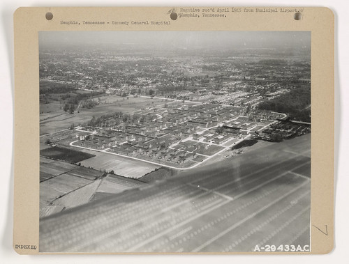 Aerial view looking northwest of Kennedy Veteran's Hospital, Getwell Rd. at Park Ave., Memphis TN - Circa 1945