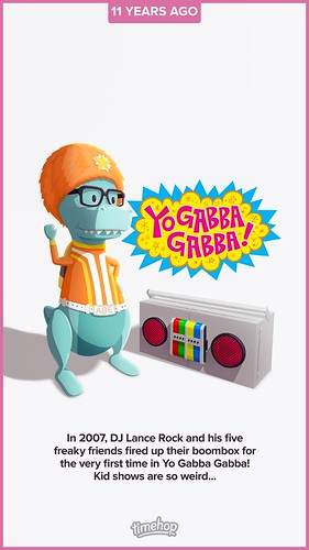 In 2007, DJ Lance Rock and his five freaky friends fired up their boombox for the very first time in Yo Gabba Gabba! Kid shows are so weird..(08/20/18) #timehop #abe #djlancerock #nickjr #yogabbagabba #liveaction #puppet #educational #childrenstvshow