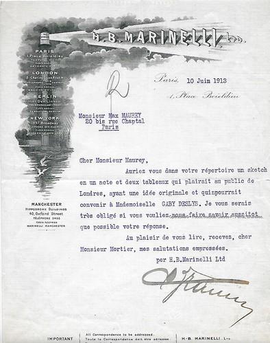 H.B. MARINELLI, impresario à Max Maurey pour Gaby Deslys, Paris, 10/06/1913