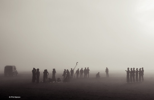 Taping a devotional music video in the foggy Sea of Sands at Mount Bromo - Java Indonesia