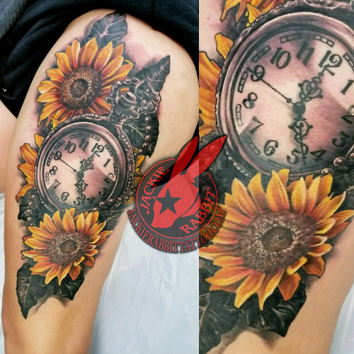 Clock Pocket Watch Sunflower Flower Color Black and Grey Antique Vintage Real Realistic best 3D Mother for Child Memorial Tattoo by Jackie Rabbit