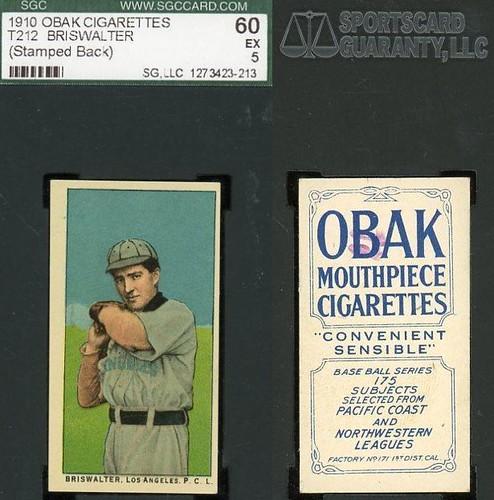 1910 T212-2 Obak Cigarettes Baseball Card (175 Subjects /