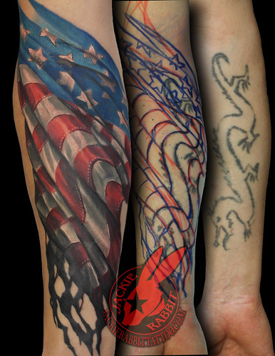 American Flag Waving Tattered Burned Aged Battle USMC Armed Forces Army 3D Best Color Realistic Cover up Tattoo by Jackie Rabbit