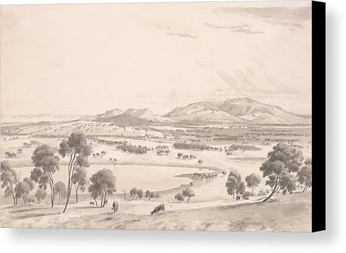 The Warrion Hills Seen From Robertson Hill Near Colac And In The Distance Part Of The Lake 1858 Canvas Print / Canvas Art by von Guerard Eugene
