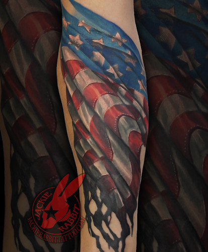 American Flag Waving Tattered Burned Aged Battle Best USMC Armed Forces Army 3D Color Realistic Tattoo by Jackie Rabbit