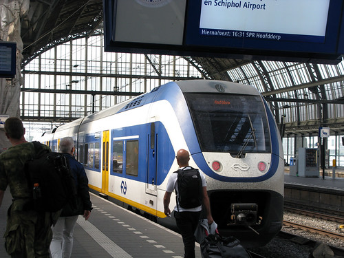 2009 Sprinter Lighttrain (SLT) 2457 (NS Sprinter) electric multiple unit passenger train at Amsterdam Centraal, Netherlands