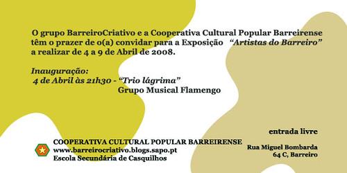 """Convite Exposição """"Artistas do Barreiro"""""""