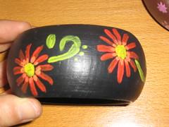 Ref.239 Pulseira preta com flor vermelha