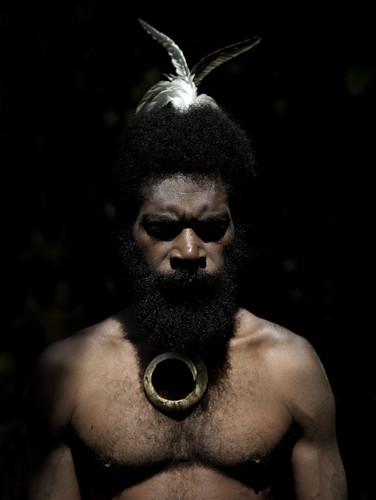 Portrait of Worwor Kon in traditional clothing, Ambrym island, Fanla, Vanuatu