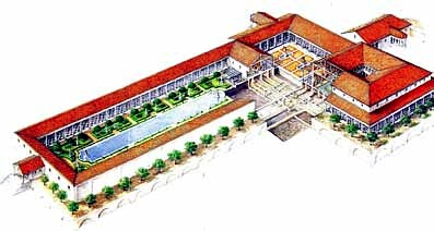 Plano alzado Villa de los Papiros Herculano TA
