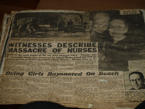 Story of nurses, in a newspaper journal, one survives,with a bayonet wound in her abdomen hidden by her water bottle and becomes a POW. She would be killed by the Japanese if they know she is a witness to the killings on BANKO Island, 18 years later she,V