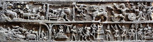 India - Maharashtra - Ellora Caves - Kailasa Temple - Episode From Mahabharata Epos - 14c