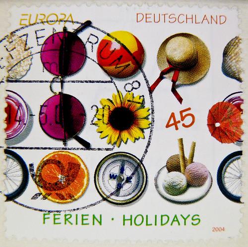 beautiful stamp Germany 45c (holidays, Ferien,  vacation, 假期, vacances, о́тпуск, férias, 休暇, vacaciones, ferie, vacanza, odmor, διακοπές, prázdniny, vakáció, 휴가, počitnice) timbres Allemagne  우표 독일 유럽 sellos Alemania selos Alemanha γραμματόσημα Γερμανία