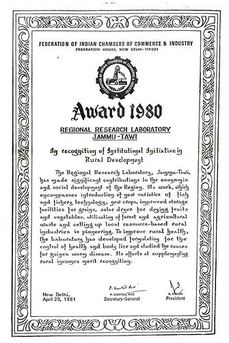 AWARD WINNING RURAL RESEARCH, SOCIOECONOMIC DEVELOPMENT by Dr.C.K.Atal -  FICCI AWARD 1980 citation