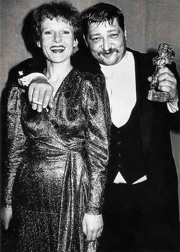 Rainer Werner Fassbinder and Rosel Zech, winning the Golden Bear for Die Sehnsucht der Veronika Voss (1982)
