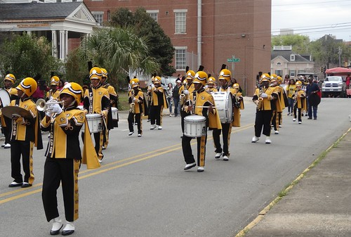 Macon school bands playing in the Cherry Blossom Parade.