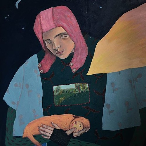 #artwork by #artist #painter Tasha Kapushon #portrait #painting #people #character #dress #creative #fashion #style #cute #animal #rest #sleep #sleeping #daydreaming #art #arts #creativity #картина #человек #одежда #фэшн #стиль #сон #спать #животное #креа