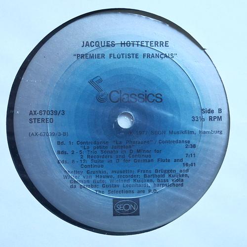Hotteterre - Premier Flutiste Francais - Suites, Sonatas Pieces, Brunettes - Gustav Leonhardt Cembalo Clavecin Harpsichord, Wieland Kuijken Bass Gamba ea, Frans Bruggen & Barthold Kuijken Flute & Recorder, abc Seon AX-67039/3, Box 3Lp, 1978