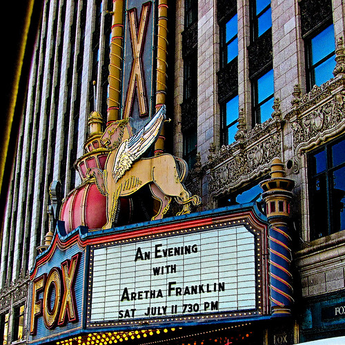 2009 - 07 - 04 - Marquee of the Fox Theater in Detroit