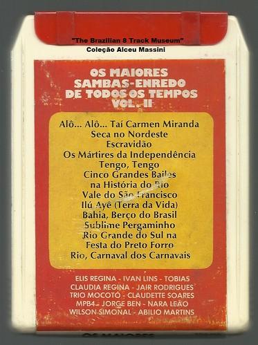 1972 - Os Maiores Sambas-Enredo de Todos os Tempos Vol 2 / Elis Regina - Ivan Lins - Tobias - Claudia Regina - Jair Rodrigues - Trio Mocotó - Claudette Soares - MPB4 - Jorge Ben - Nara Leão - Wilson Simonal - Abílio Martins - brazilian 8 track