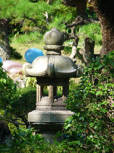 Glass sculpture decorating the Kakubu-en garden at the Honma Museum of Art in Sakata, Yamagata Prefecture