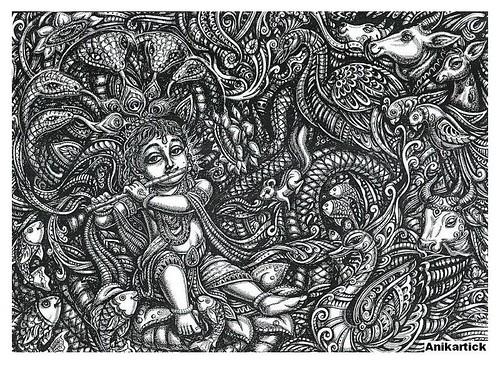 GOD KRISHNA,GOD LITTLE KRISHNA,GOD RADHA KRISHNA,GOD RAMA KRISHNA,Art,Drawing,Sketches,Creative art,Pen drawings,Illustration,Anikartick
